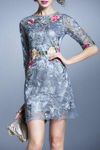 Buy Embroidered Sheer Short Dress