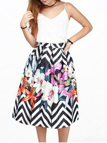 Affordable Zig-Zag Flowers Print Puff Skirt WHITE AND BLACK L