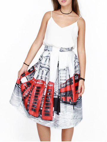 Store High Waist Bus 3D Print Puff Skirt WHITE L