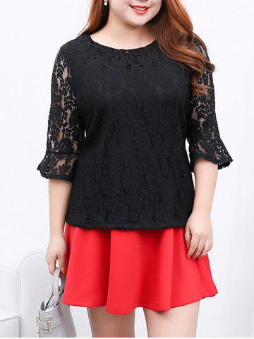 New Flare Sleeves Laciness Blouse BLACK 4XL