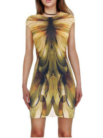 Sale Dragonfly 3D Print Slimming Bodycon Dress