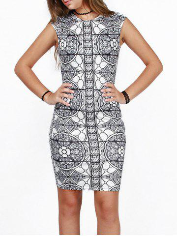 Store Slimming Bodycon Party Floral Bandage Dress WHITE AND BLACK XL