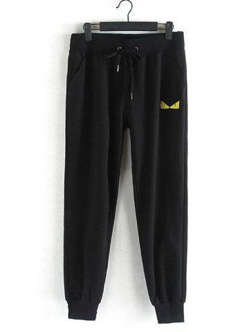 Outfits Drawstring Embroidered Plus Size Jogger Pants BLACK 3XL