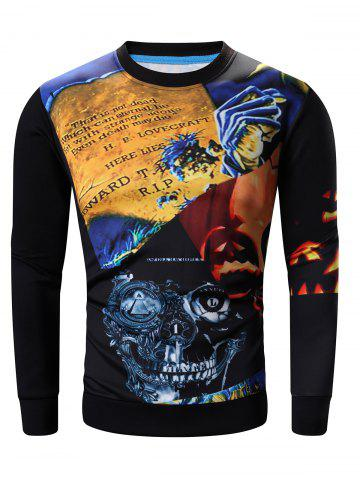 Trendy Round Neck Abstract Halloween Pumpkin and Skull Print Long Sleeve Sweatshirt