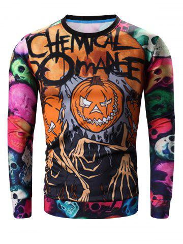 Col rond 3D Colorful Skull and Halloween Pumokin Imprimer longue Sleeve Sweatshirt