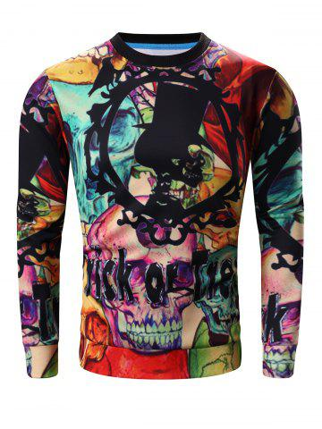Shop Round Neck 3D Halloween Letter and Skull Print Long Sleeve Sweatshirt COLORMIX 3XL
