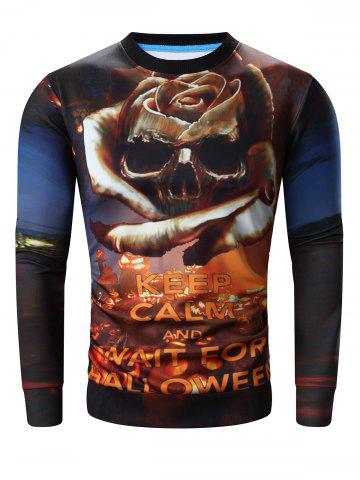 Shops Round Neck 3D Halloween Pumpkin Lamp and Skull Print Long Sleeve Sweatshirt