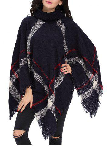 Discount Turtleneck Fringe Long Cardigan Poncho