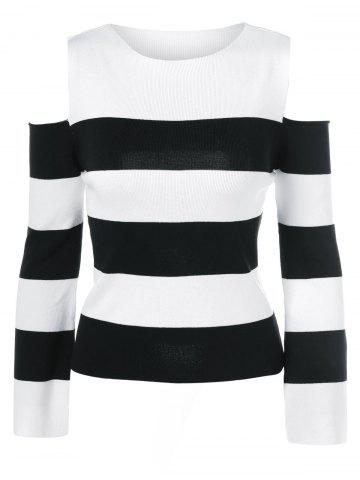 Fancy Cold Shoulder Striped Pullover Sweater
