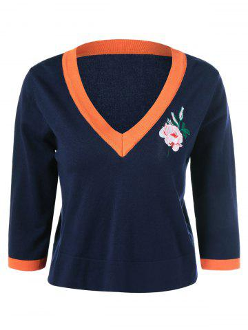 Affordable Embroidery V Neck Pullover Knitwear
