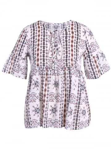 Chic V-Neck Flare Sleeve Printed Plus Size Blouse