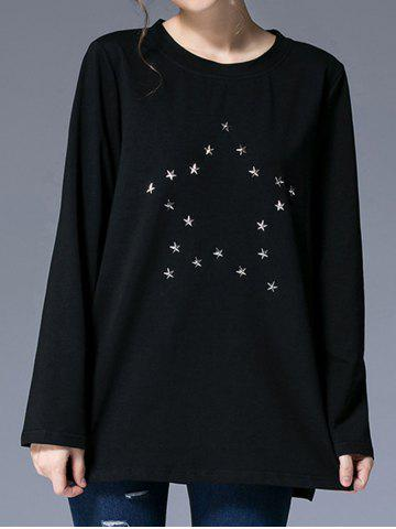 Shops Round Neck Star Pattern Studded T-Shirt