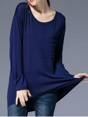 Scoop Collar High Low T Shirt with Pocket