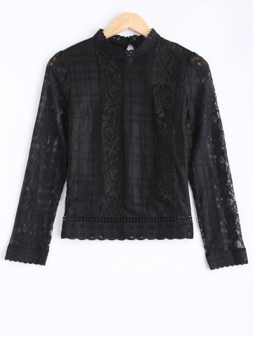 Fashion Hollow Out Lace Splicing Blouse