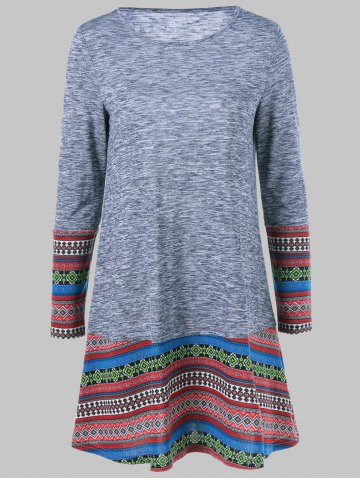 Fashion Tribal Pattern Long Sleeve Dress GRAY XL