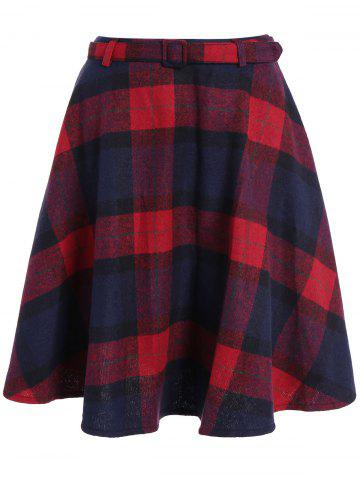 Pocket design taille haute Plaid Jupe Rouge S