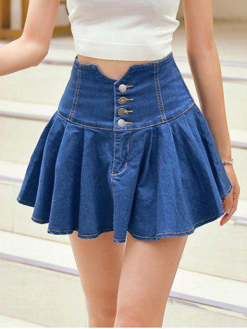 Shops High Waist Buttoned Denim Skirt
