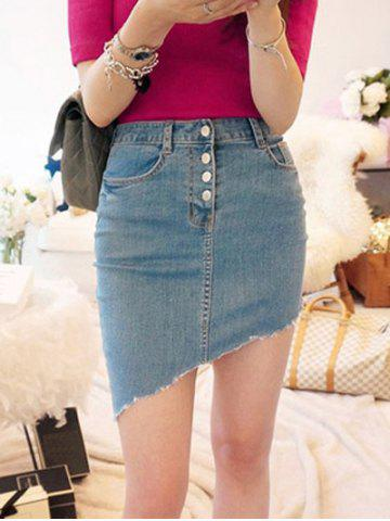 Store Asymmetrical Buttoned Stretchy Skirt