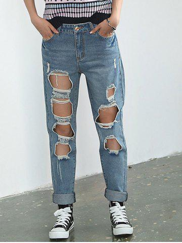 Hot Broken Hole Rolled Cuff Jeans