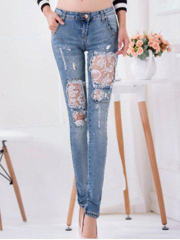 Chic Lace Splicing Rhinestone Embellished Jeans