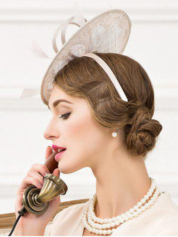Store Fascinator Bowknot Feather Wedding Tea Party Cocktails Hat - SILVER GRAY  Mobile