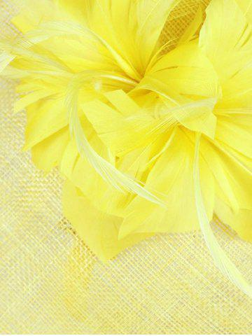 Outfit Exuberant Flower Feather Wedding Tea Party Cocktails Hat - FLUORESCENT YELLOW  Mobile