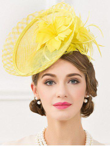 Exuberant Flower Feather Wedding Tea Party Cocktails Hat - FLUORESCENT YELLOW