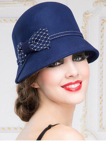 Outfit Winter Bowknot Wool 20s Felt Fedora Hat - SAPPHIRE BLUE  Mobile