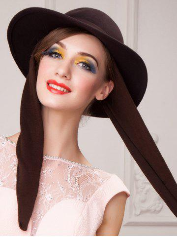 Discount Wide Brim Wool Felt Bowknot Strappy With Scarf Fedora Hat - COFFEE  Mobile