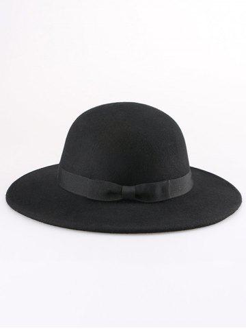 Discount Wide Brim Wool Felt Bowknot Strappy With Scarf Fedora Hat - BLACK  Mobile