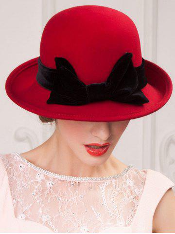 Outfit Wide Brim Wool Felt Big Bowknot Fedora Hat - RED  Mobile