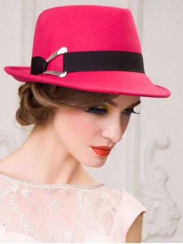 Outfit Ribbon Wool Floppy Trilby Felted Fedora Hat - ROSE MADDER  Mobile