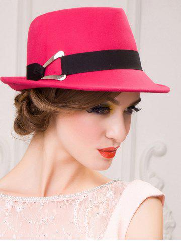 Latest Ribbon Wool Floppy Trilby Felted Fedora Hat - ROSE MADDER  Mobile