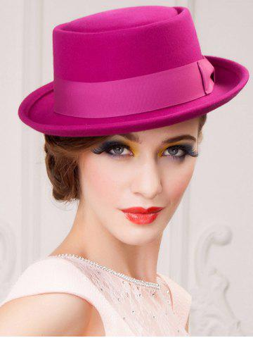 Cheap Embellished Flanging Wool Bowknot Flat Top Fedora Hat