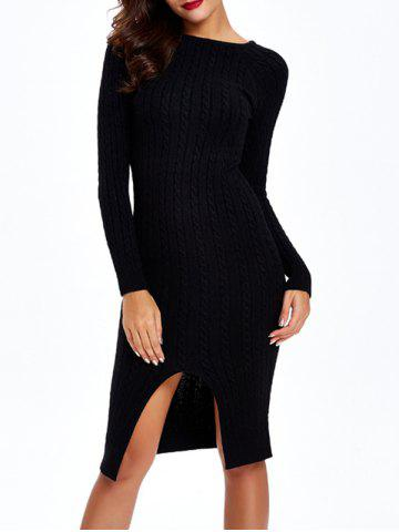 Latest Long Sleeve Cable Knit Bodycon Dress