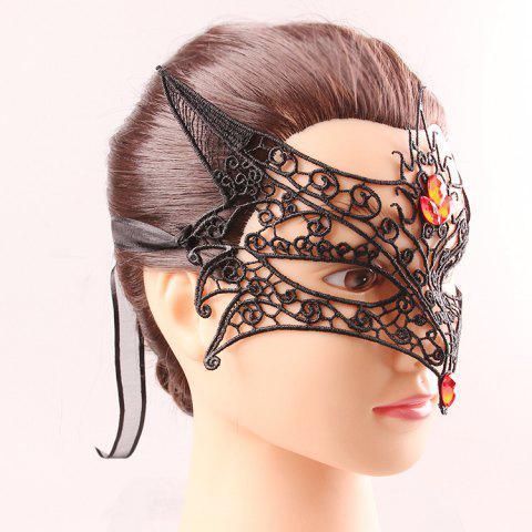 Fashion Fox Modelling Faux Gem Half Face Lace Cut Out Carnival Masquerade Masks - BLACK  Mobile