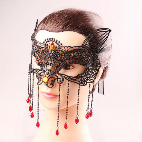 Sale Waterdrop Tassels Half Face Lace Cut Out Masks - BLACK  Mobile