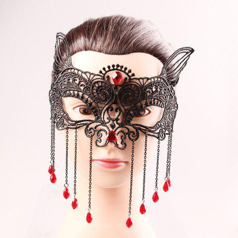 Fashion Waterdrop Tassels Half Face Lace Cut Out Masks - BLACK  Mobile