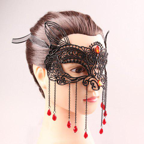 Shops Waterdrop Tassels Half Face Lace Cut Out Masks - BLACK  Mobile