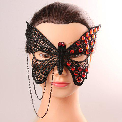 Online Butterfly Modelling Rhinestone Lace Cut Out Half Face Masks - BLACK  Mobile