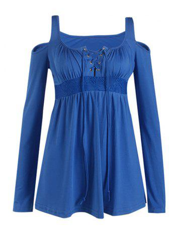 Découpez Out Lace-Up Blouse - Bleu 3XL