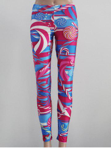 Chic Printed Tight Fit Leggings COLORMIX L