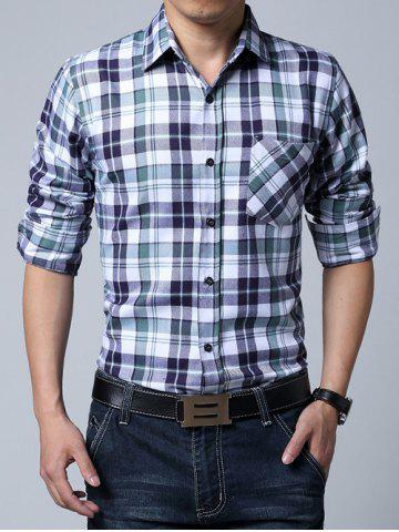 Cheap Long Sleeve Breast Pocket Plaid Shirt