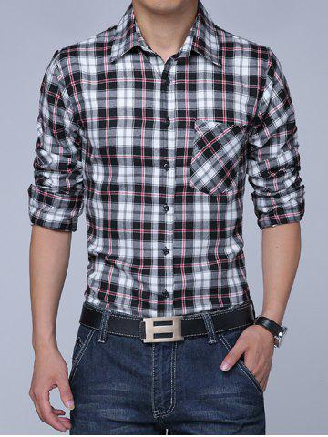 Buy Long Sleeves Turn-down Collar Plaid Shirt