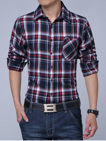 Fashion Long Sleeves Button Up Fleece Lined Checked Shirt