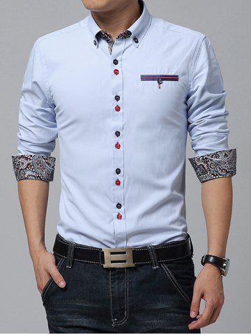 Outfit Embroidered Paisley Print Lining Button-Down Shirt