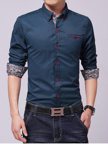 Shops Embroidered Paisley Print Lining Button-Down Shirt SAPPHIRE BLUE L