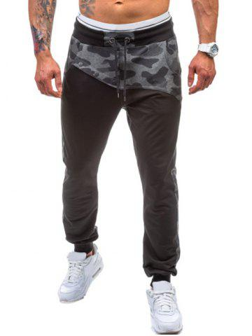 Online Drawstring Spliced Camo Jogger Pants BLACK 2XL