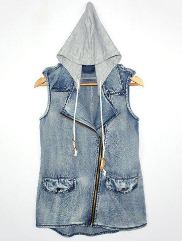 Hot Hooded Zipper Design Letter Print Waistcoat