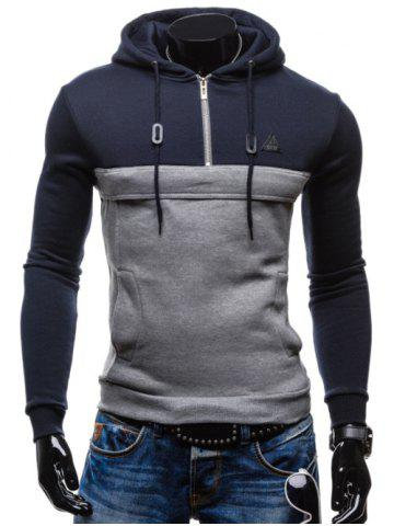 Color Splicing Zip Up Drawstring Pullover Hoodie - CADETBLUE 2XL
